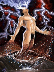 The red and blue and white particles are in a spiral helix form like our DNA and he is rising out of the birth canal of the Earth, Eretz.